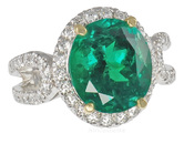 Classic Emerald & Diamond Custom Ring in 2 tone 18 karat gold - Diamond Horseshoe Band - SOLD