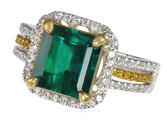 Stunning Fine Columbian Gem Emerald set with 2 tone gold & White and Yellow Pave Diamonds - SOLD
