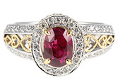 Gorgeous 1.64c 7.35x5.40mm Pink Fuschia Sapphire & Diamond Ring in 2 tone 18kt gold