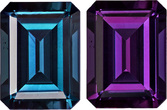 Perfect Alexandrite with Gubelin Cert. In Emerald Cut, Stunning Burgundy to Teal Blue Change in 6.9 x 5.1 mm, 1.05 carats