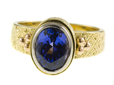 Beautiful Handmade Gem AAA Deep Intense Color - Perfect Cut 9x7mm 2.2ctTanzanite ring in 3 tone 18 kt gold