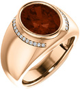 Chunky Gents 14 Karat Rose Gold 12x10mm Oval Mozambique Garnet & 1/8 Carat Total Weight Diamond Ring