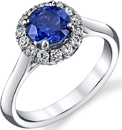Bright Rich Hand Crafted 1.4ct Blue Sapphire Gemstone Ring With Diamond Accents in 18kt White Gold