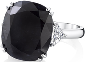 Striking Handmade 16 carat Navy-Black Sapphire Gemstone Ring With Trillion Diamond Side Gems - 18kt White Gold