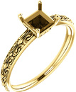 Square Sculptural Style Solitaire Ring Mounting for 5.00 mm to 10.00 mm Center - Customize Metal, Accents or Gem Type