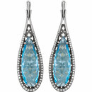 14KT White Gold Sky Blue Topaz & 1/3 CTW Diamond Earrings