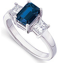 Gorgeous 1 ct Fine Ceylon 7x5mm Blue Sapphire & 0.50 ct Diamond Engagement Ring in 14 kt White Gold