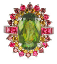 Sarosi Classic - Rare Sphene Spinel Garnet & Yellow Tourmaline Multi-Color Gemstone Ring - SOLD