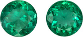 Rare Size in Emerald Round Gemstone Pair in Bright Rich Green Color in 8.0 mm, 3.56 carats