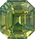Striking Green Sapphire Gem in Octagon Cut, Green Blue Yellow Colors with AGL Cert., 8.7 x 7.8 mm, 3.58 carats