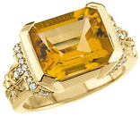 14KT Yellow Gold Citrine & 1/5 Carat Total Weight Diamond Ring