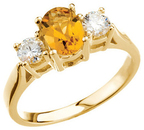 14KT Yellow Gold Citrine & 3/8 Carat Total Weight Diamond Ring