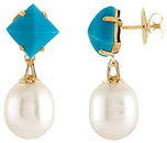 18K Yellow Turquoise & South Sea Cultured Pearl Earrings