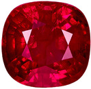 Perfect Loose Ruby Gem for Ring Stone in Cushion Cut, Rich Red Color, 5.9 x 5.8 mm, 1.15 carats