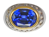 Intense Colored Tanzanite Bezel set in Gold Ring with Awesome Gold Engraving - SOLD