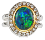 Exceptionally Rare Gem Lighting Ridge Black Opal And Diamond Gemstone Ring - SOLD