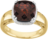 14K Two-Tone Mozambique Garnet & 1/6 Carat Total Weight Diamond Ring