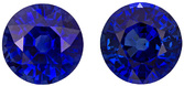 Very Gemmy Sapphire Well Matched Pair in Round Cut, Intense Rich Blue, 5.5 mm, 1.72 carats - SOLD
