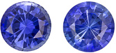 Pretty & Bright Sapphire Well Matched Pair in Round Cut, Vivid Rich Blue, 5.5 mm, 1.61 carats