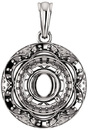 Ornate Accented Halo Pendant Mounting for Round Shape Centergem Sized 4.10 mm to 12.00 mm - Customize Metal, Accents or Gem Type