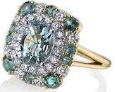 GIA Certified Oval 2.8 carat Paraiba Tourmaline Handmade Ring With Diamond & Paraiba Tourmaline Accents