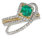 Crystal Emerald set in a Story of Micro Pave Diamond Designer Ring for SALE - SOLD