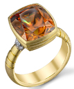 Rare Golden Orange Large Super GEM 8.73 carat Sphene Gemstone set in Custom Handmade Heavy Gold & Diamond Ring - SOLD