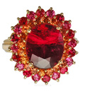 Classic Sarosi Gemstone Ring Tourmaline - Citrine And Pinkish Red Spinel - SOLD