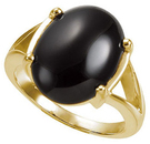14KT Yellow Gold 16x12mm Oval Onyx Cabochon Ring
