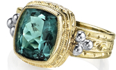 Beautiful Handmade 2-Tone 18t Gold Ring With Fabulous 3.26ct Cushion Cut Indicolite Tourmaline Gem - SOLD