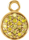 Fun 6.15mm Round Shape 14kt Yellow Gold Dangle With 1/10ctw Yellow Diamond Cluster