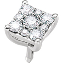 Sparkly Square Shape Diamond Cluster Preset Peg Setting in 14kt White Gold - 9 Diamond Accents