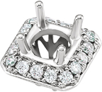 Sophisticated Diamond Halo Preset Peg Setting for 5.80 mm Round Center in 14kt White or Rose Gold
