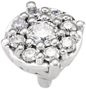 Stunning Round Diamond Cluster Preset Peg Setting With Heart Decorations At The Base in 14kt White Gold - 1/8ctw Diamond Accents