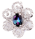 Magnificent Spiral Style Flower Pendant With Genuine Alexandrite Center Gem and Diamond Petals - 0.72 carats, 6.27 x 5.31 mm