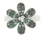 Flower Alexandrite & Diamond Pave Ring in 18 kt White Gold - SOLD