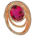 Modern Design Pink Tourmaline set with Pave Diamonds Gemstone Ring  - SOLD