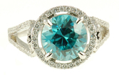 Elegant Blue Zircon and Diamond ring in 18 kt white gold for SALE - Split Shank Diamond Band - SOLD