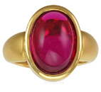 Deep Vivid Pink Touramline Cabachon & Diamond Ring 18 karat Gold - SOLD