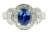 Beautiful High Quality 1.58ct 8x6mm Oval Cut Ceylon Blue Sapphire and Diamond Ring - 18 kt White Gold