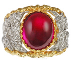 Bold Hot Pink Tourmaline Cabachon Custom 2 Tone Ring - Amazing Diamond Detailing - SOLD