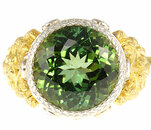 Custom made Green Tourmaline and Diamond Gemstone Ring  - SOLD