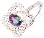 Genuine .84ct, 6.55 x 4.72 mmAlexandrite Gemstone Ring With Orbiting Diamond Oval Frames in 14k White Gold