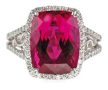 Stunning Huge GEM Nigerian Red Rubellite Tourmaline And Custom Diamond Ring  - SOLD
