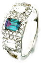 Enchanting 5.41 x 4.13 mm Emerald Cut Genuine 0.55ct Alexandrite in a Bed of 1 ct Diamonds - 14k White Gold Band Ring