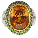 Stunning & Rare Yellow Zircon Bezel Ring set with Green Diamonds in Black Rhodium - SOLD