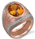 Vivid Golden Yellow Sapphire set in Diamond Pave Handmade Ring in Rose Gold - SOLD
