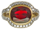 Intense 5 carat Burma Ruby set in Intricate Diamond Pave Handmade Ring - SOLD