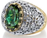 Italian Made 18kt 2-Tone 12.6ct Oval Green Tourmaline Ring With Hand carved Detailing - Diamond Accents