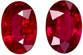 High Color Ruby Well Matched Pair in Oval Cut, Vivid Rich Red, 6 x 4.2 mm, 1.34 carats